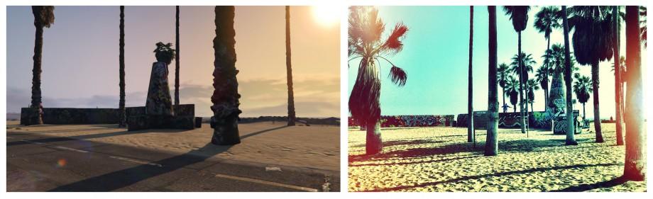 pomalowane drzewa i pomniki przy Venice Beach