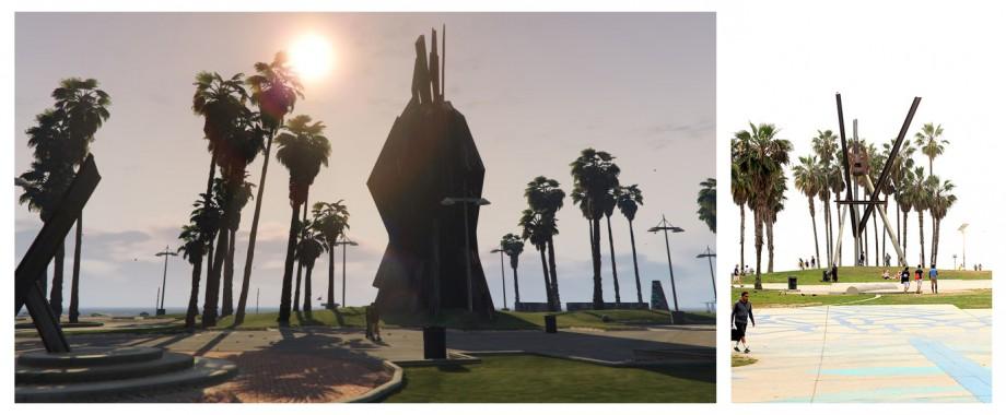 pomnik na Venice beach - wydaje mi się że w pierwszym releasie gry był on bardziej podobny, ale trochę się różni