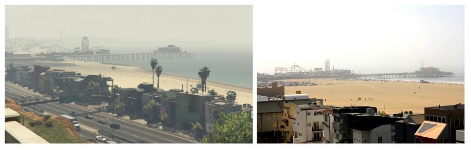 Santa Monica Pier widziany z pobliskiego wzgórza